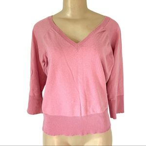 Pink V-Neck Summer SL Sweater